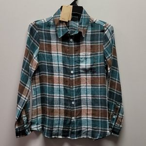 A.P.C. Green Plaid Button Front Long sleeve Top